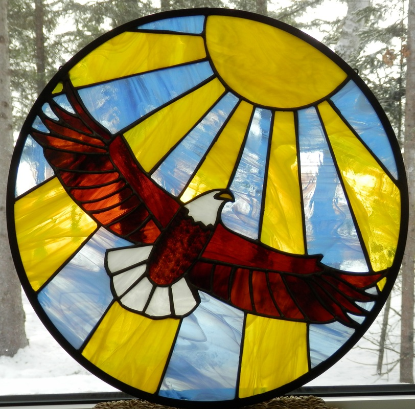 Soldered Glass Blue Heron Stained Glass Mosaics